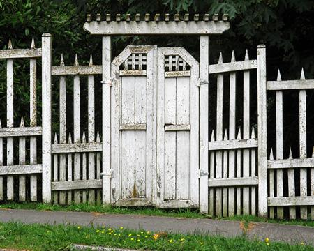 White Gate Along The Street Seattle Washington Photograph