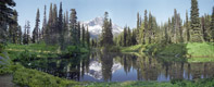 Indian Henry\'s Pond Panorama, Mt Rainier National Park, Washington